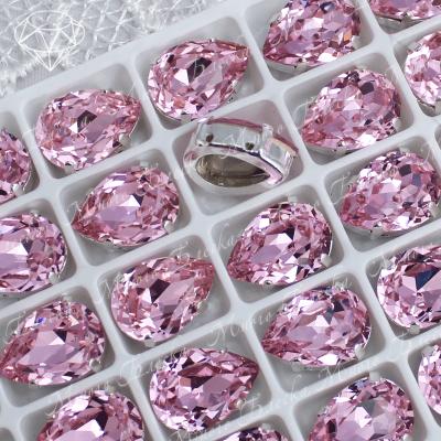 """Стразы в цапах Капля """"Роза"""" 10*14 мм SWA crystalls"""