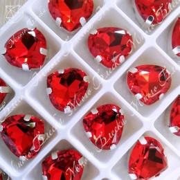 "Стразы в цапах Сердце ""Сиам лайт"" 14*15,5 мм SWA crystalls"