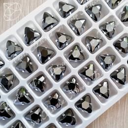 """Стразы в цапах Треугольник """"Джет Гематит"""" 10мм SWA crystalls"""