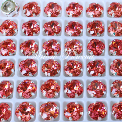 """Стразы в цапах Сва """"Квадрат Падпараджа"""" 8 мм SWA crystalls"""