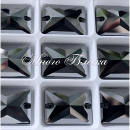 "Прямоугольник ""Джет гематит"" 25х18мм SWA crystalls"