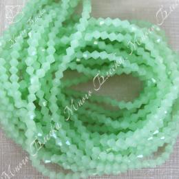 Бусины биконус 4мм Зеленый опал, стекло, 30шт
