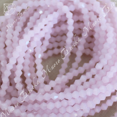 Бусины биконус 4мм Розовый опал, стекло, 30шт