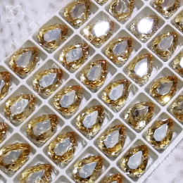 "Стразы в цапах Капля ""Голден шэдоу"" 10-18 мм SGA crystalls"