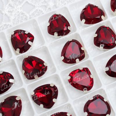 """Стразы в цапах Сердце """"Сиам"""" 14*15,5 мм SGA crystalls"""