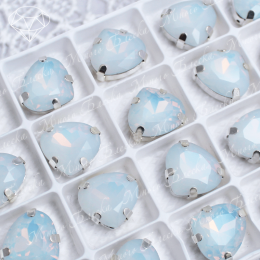 "Стразы в цапах Сердце ""Белый опал"" 14*15,5 мм SWA crystalls"