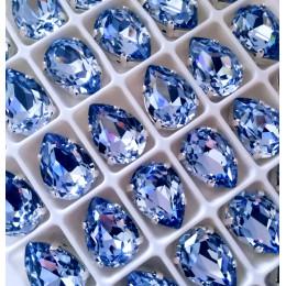 "Стразы в цапах Капля ""Сапфир лайт"" 10*14 мм SWA crystalls"