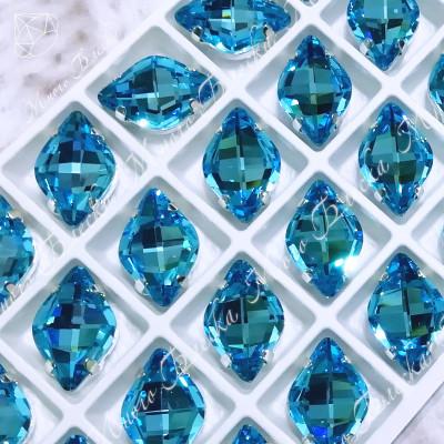 """Стразы в цапах Лимон """"Аквамарин дарк"""" 12х19мм SGA crystalls"""