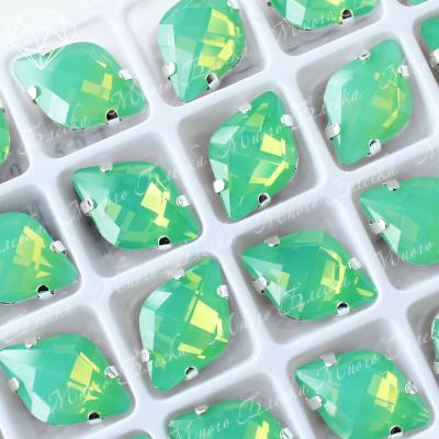 "Стразы в цапах Лимон ""Зеленый опал"" 12х19мм SGA crystalls"