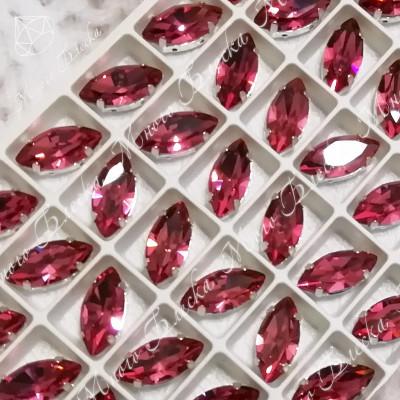 """Стразы в цапах Лодочка """"Фуксия лайт"""" 7*15мм SGA crystalls"""