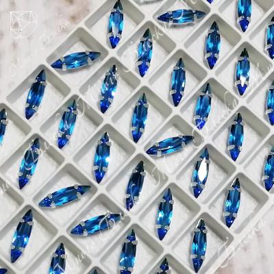 """Стразы в цапах Лодочка """"Капри блю"""" 4*15мм SGA crystalls"""