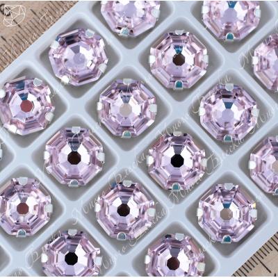 "Стразы в цапах Октагон ""Роза лайт"" 14 мм SWA crystalls"