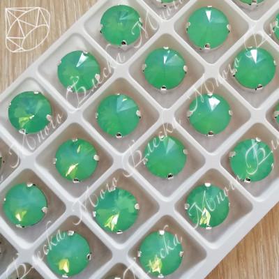 """Стразы в цапах Риволи """"Зеленый опал"""" 12мм SWA crystalls"""