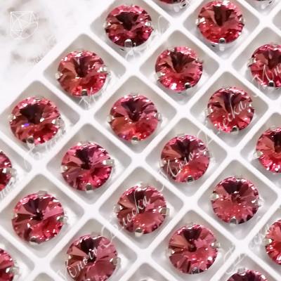 """Стразы в цапах Риволи """"Фуксия лайт"""" 10мм SGA crystalls"""