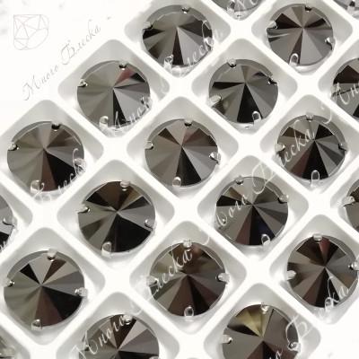"""Стразы в цапах Риволи """"Гематит"""" 12-14мм SGA crystalls"""