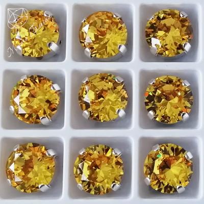 "Стразы в цапах Круг-бриллиант ""Топаз лайт"" 10мм SGA crystalls"