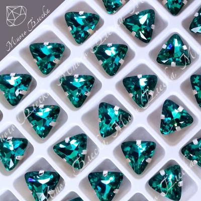 """Стразы в цапах Треугольник """"Блю циркон"""" 10мм SGA crystalls"""