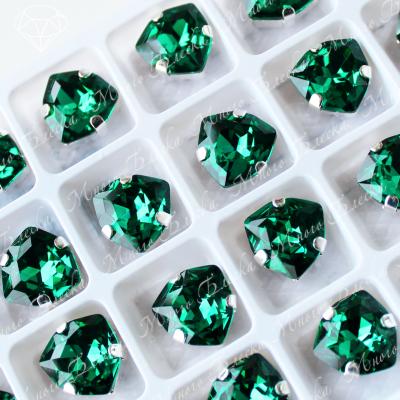 """Стразы в цапах Триллиант """"Эмералд"""" 12мм SGA crystalls"""