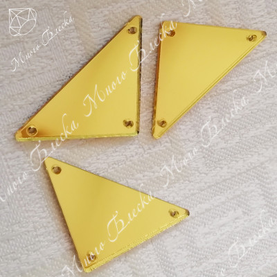 """Стразы зеркало треугольник """"Голден"""" 23*33мм"""