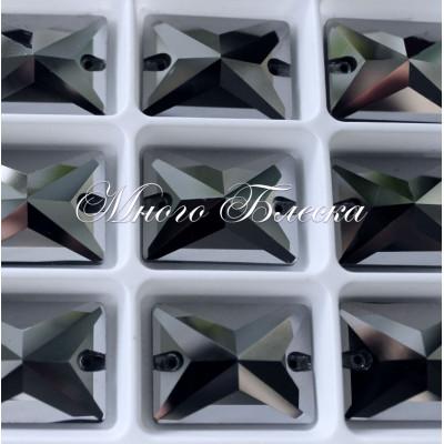 "Прямоугольник ""Джет гематит"" 25х18мм SGA crystalls"