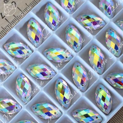 """Лодочка R """"АВ Кристалл"""" 9х18мм SGA crystalls"""
