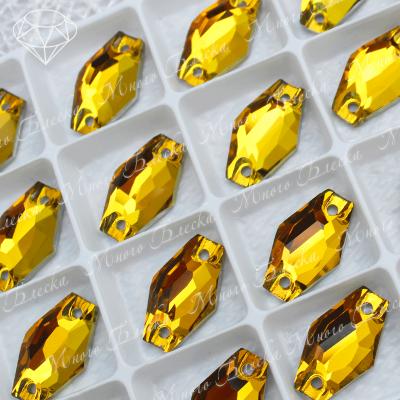 """Ромбовидные стразы """"Топаз"""" 11*18мм SGA crystalls"""