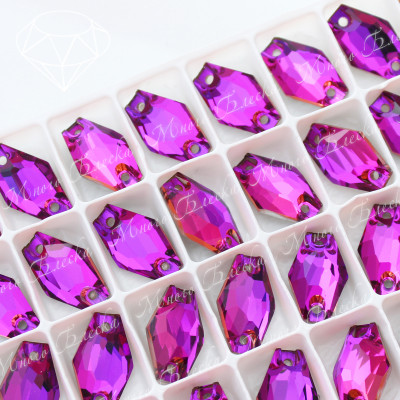 """Ромбовидные стразы """"Фуксия"""" 11*18мм SGA crystalls"""